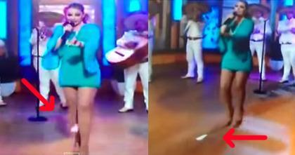 42岁墨西哥女歌手派翠西亚节目录制现场出糗